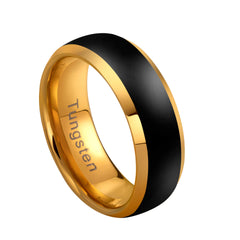 URBAN JEWELRY Men's Tungsten Ring Band – Dystopian Street Fashion – Matte Black and Lustrous Gold Color – Solid Tungsten Material