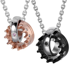 "Urban Jewelry Crown His & Hers Couple Royal Ring Pendant Love Necklace Valentine Set, 19 & 21"" Chain (Black, Rose Gold)"