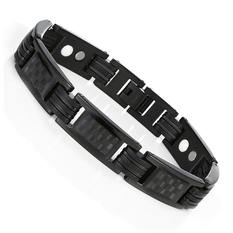 Urban Jewelry Men's Titanium Magnetic Link Bangle Bracelet with Carbon Fiber 8.66 inch (Black)