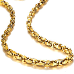 Urban Jewelry Unique Astro Snake 22 Inches Men's Tungsten Golden Toned Link Necklace Chain (Heavy, Solid)