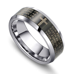 URBAN JEWELRY Men's Christian Ring – Inscribed with The Religious Lord's Prayer and Cross – Black and Silver Color – Polished Solid Tungsten Carbide Material for Him