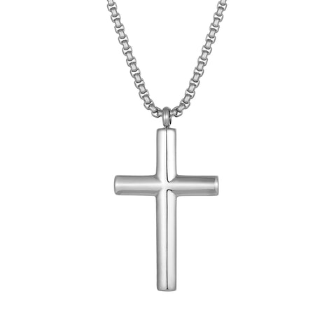 Radiant Men's Cross Necklace – The Lord's Cross in a Polished Gold or Silver Finish – Rust & Discoloration Resistant Stainless Steel Pendant and Chain – Jewelry Gift or Accessory for Men