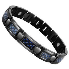 Urban Jewelry Men's Titanium Magnet and Carbon Fiber Link Bangle Bracelet (8.66 inch, Black)