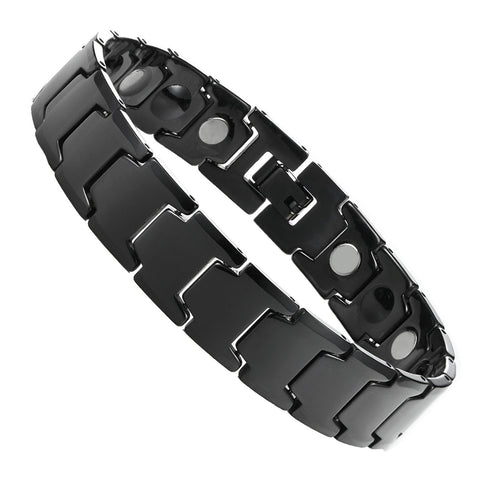 Elegant Men's Black Solid Tungsten Link Bracelet with Magnet