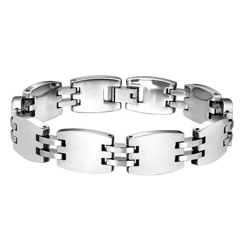 Dapper Men's Bracelet – Hybrid Interlocking Track Links & Box Chain Design – Radiant Silver Finish – Scratch & Tarnish Resistant Tungsten Metal – Jewelry Gift or Accessory for Men