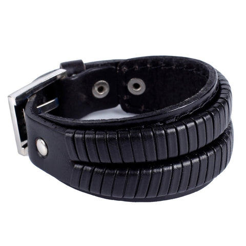 Urban Jewelry Elegant Coal Black Cuff Genuine Leather Bracelet for Men (Metal Buckle Clasp)
