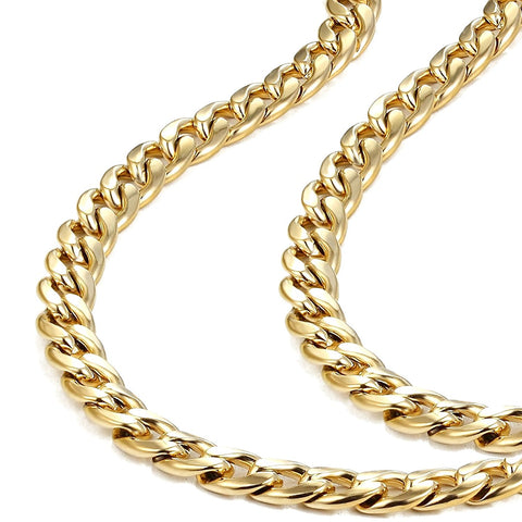 Urban Jewelry Polished Stainless Steel Men's Curb Chain Necklace in Variety of Sizes and Colors