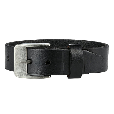 Urban Jewelry Men's Genuine Leather Cuff Bangle Bracelet Perfect Statement Piece (Black, Silver, 6.3-8.25 inches)