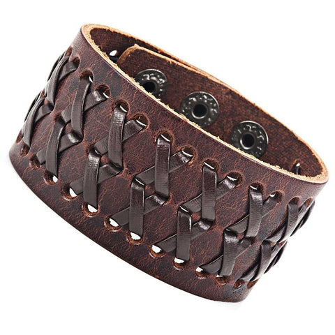 Stunning Brown Gipsy Kings Style Cuff Leather Bracelet Wristband Bangle Fashion (Resizable)