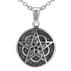 The Ringed Pentacle 5 Circles Pentagram Stainless Steel Pendant Necklace for Men & Women (21-inch chain)