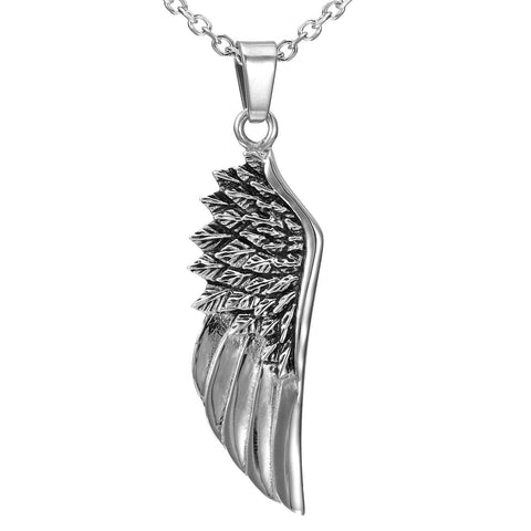 Urban Jewelry Stainless Steel Silver Angel Wing Pendant 21 Inch Necklace for Men