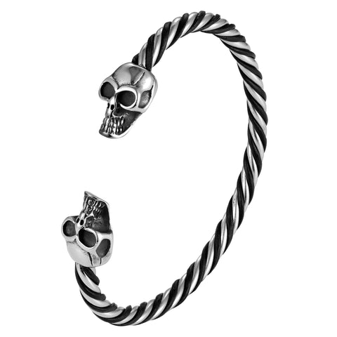 Bold Men's Biker Bracelet, Stainless Steel Silver Finish Band with Death's Skull Ornament and Black Genuine Leather