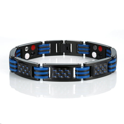 Urban Jewelry Men's Titanium Magnetic Link Bangle Bracelet with Carbon Fiber 8.66 inch (Black and Blue)