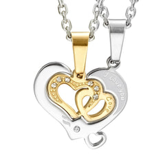 I Love You 2pcs Matching Couples Heart CZ Pendant Set with 19 & 21