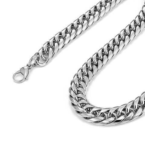 Men's Stainless Steel Chain Necklace Ultra Thick and Wide (Silver,13.5 mm width, 18,21,23 Inch)