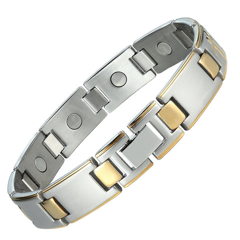 Baseball Magnetic Men's Link Bracelet 316L Stainless Steel 9.05 inch Silver and Gold Tone Bangle