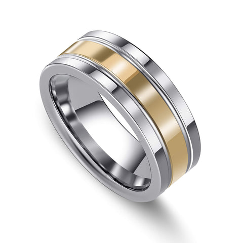 URBAN JEWELRY Men's Wedding Band - Made of Strong Durable Solid Tungsten Carbide – 8mm Wedding Ring Size – High Shine Silver Finish with Sleek Gold Color Bands