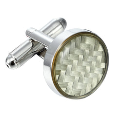 Urban Jewelry Stunning Round 316L Stainless Steel & White Carbon Fiber Cufflinks for Men