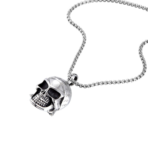 Bold Men's Biker Necklace – Death's Head Skull Pendant in a Polished Black and Silver Finish – Rust & Discoloration Resistant Stainless Steel Pendant and Chain – Jewelry Gift or Accessory for Men