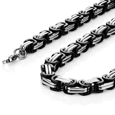 Impressive Mechanic Style Stainless Steel Men's Necklace Silver Black Chain for Men (18,21,23 Inches)