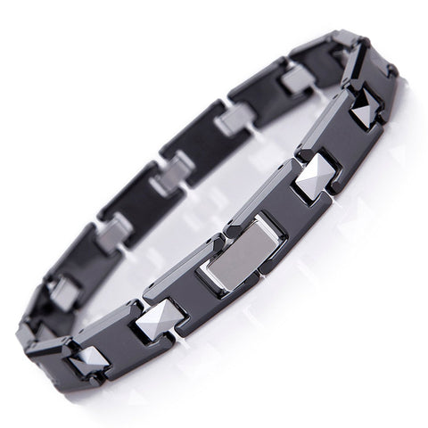Amazing Tungsten and Ceramic Men's Link Bracelet (Black, Silver)