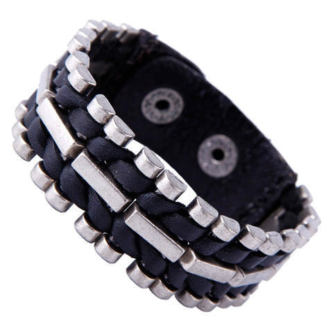 Urban Jewelry Unusual Genuine Leather & Metal Cuff Men's Bracelet by (Black, Silver)