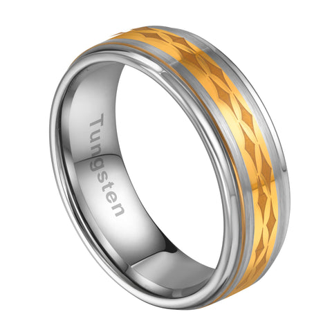 URBAN JEWELRY Men's Ring Featuring The Christian 4 Point Star – Lustrous Silver and Gold Color – Made of Solid Tungsten Material – Wedding Band for Him