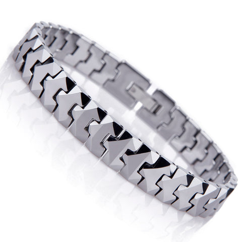 Urban Jewelry Unique Solid Tungsten Puzzle Pieces Style Mens Link Bracelet (Silver, 10mm)