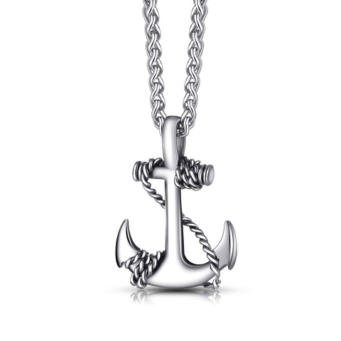 URBAN JEWELRY Men's and Women's Anchor Necklace – Radiant 316L Stainless Steel Silver Color Nautical Anchor Pendant with Steel Chain – Unisex Accessory, for Him or Her