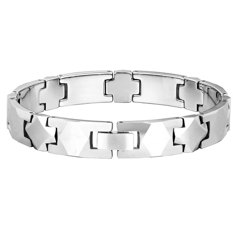 Elegant Men's Bracelet – Interlocking Track Links with Beveled Geometric Design – Radiant Silver Color – Scratch & Tarnish Resistant Tungsten – Jewelry Gift or Accessory for Men