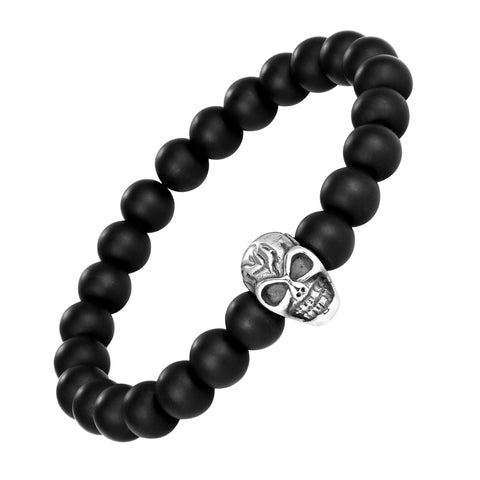 Contemporary Men's Bracelet – Black Beads with Silver Color Mayan Skull Charm – Made of Glass & Polished Stainless Steel – Jewelry Gift or Accessory for Men