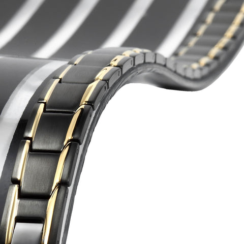 Unique 316L Stainless Steel and magnets Link Men's Bracelet (Black, Gold)
