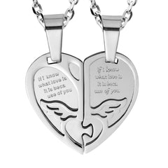 "Urban Jewelry 2pcs His & Hers Angel Wings Heart Couples Pendant Necklace Set with 19"" & 21"" Chain (Silver Tone)"