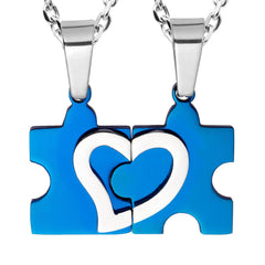Stunning His & Hers Puzzle Heart Matching Couples Pendant Necklace Set with 18