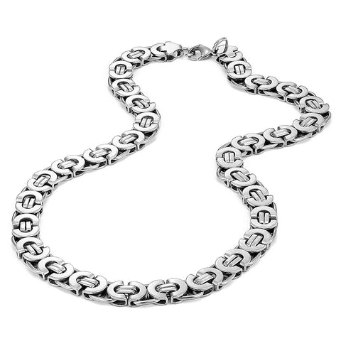 Urban Jewelry Mechanic Style Ultra Wide Stainless Steel Men's Necklace (Silver, 18,21,23 inches, 11 mm width)