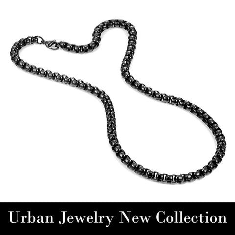 Stunning Black 316 Stainless Steel Men's Chain Necklace Versatile Wear Possibilities (18,21,23 inches)