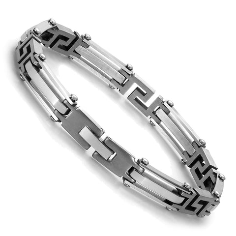 Urban Jewelry Elegant Silver Tone Link 316L Stainless Steel Bracelet for Men