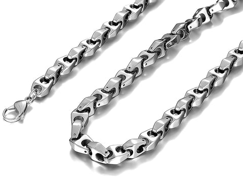 Urban Jewelry Unique Astro Snake 22 Inches Men's Silver Toned Tungsten Link Necklace Chain (Heavy, Solid)