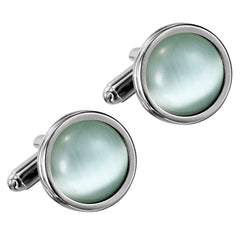 Urban Jewelry Stunning Round Blue Created-Opal and Stainless Steel Cufflinks for Men (Silver)