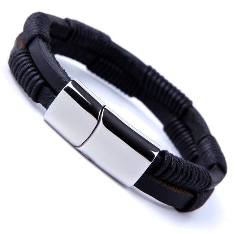 Urban Jewelry Unique Men's Coal Black Cuff Genuine Leather Bracelet with Stainless Steel Clasp
