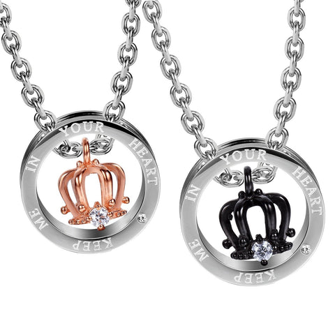 "Royal His & Hers Couples Crown Ring Pendant Love Necklace Set, 19 & 21"" Chains (Silver, Black, Rose Gold)"