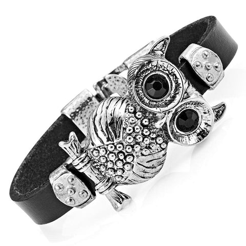 Stunning Leather Crystal Black Owl Cuff Bracelet (Silver Color)