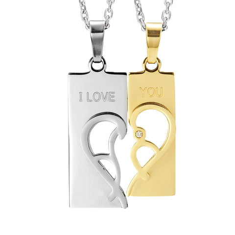 "Urban Jewelry 2pcs His & Hers Abstract ""I Love You"" Heart Couples Jewelry CZ Pendant Necklace Set with 19"" & 21"" Chains"