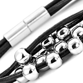 "Eye Catching Women Leather Bracelet Silver Color Beads Cuff Jewelry with Magnetic Clasp 7.5"" (Black)"