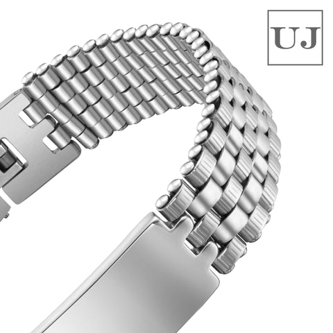 Urban Jewelry Men's Stainless Steel Bracelet – Interlocking Steel Panel Design in a Polished Silver Finish (8.3 inch)