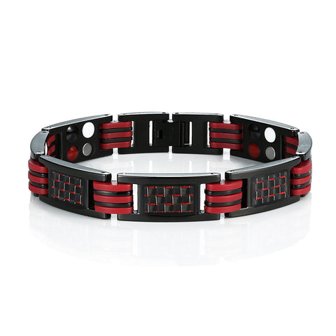 Urban Jewelry Men's Titanium Magnetic Link Bangle Bracelet with Carbon Fiber 8.66 inch (Black and Red)