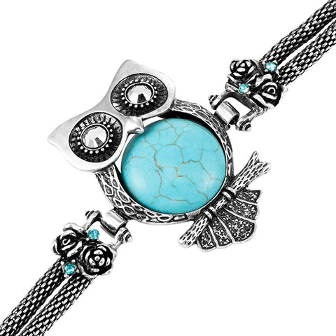 Stunning Owl Tibet synthetic-turquoise Cuff Bracelet Owl Vintage Jewelry