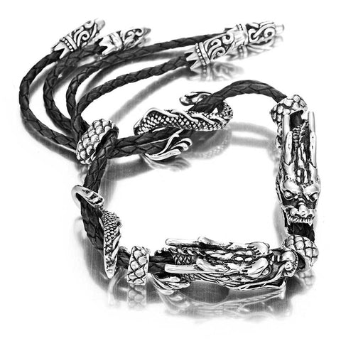 Stunning Genuine Leather Stainless Steel Double Dragon Bracelet (Adjustable, Black, Silver)