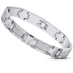 Men's Tungsten Carbide Cross Bracelet - Link Chain Design in a Polished Silver Finish - Advanced Engineered Metal Blend of Solid Tungsten & Carbon Fiber Material -8.3 inch (21 cm) 10mm wide (Silver)
