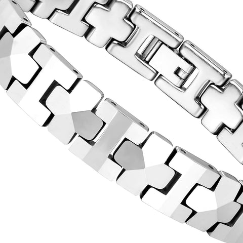 Mesmerizing Men's Bracelet – Interlocking Track Links with Beveled Geometric Pattern – Polished Silver Finish – Scratch & Tarnish Resistant Tungsten – Jewelry Gift or Accessory for Men